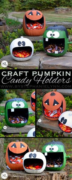 Halloween - How to Make Craft Pumpkin Candy Holders - an easy faux craft - Bricolage Deco Halloween, Deco Haloween, Halloween Infantil, Fröhliches Halloween, Holidays Halloween, Halloween Pumpkins, Halloween Decorations, Fake Pumpkins, Carving Pumpkins