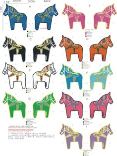 Many colored dala horses.  I think this could be printed.