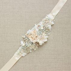 Champagne bridal sash Bridal sash Floral sash beltWedding