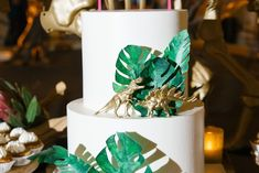 w/o dinosaur and with sweet 16 sign and fake leaves Dinosaur Wedding, Dinosaur Birthday, 4th Birthday, Love Wedding Themes, Baptism Party, Tropical Party, Baby Shower Cakes, Birthday Party Decorations, Dinosaurs