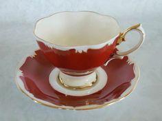 Red Royal Albert Teacup and Saucer / Vintage by SwirlingOrange11, $39.00