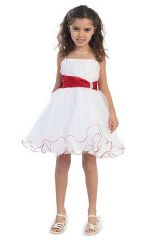 Red accented waistband Mini tulle flower girl dress G3018-RD $49.95 on www.GirlsDressLine.Com