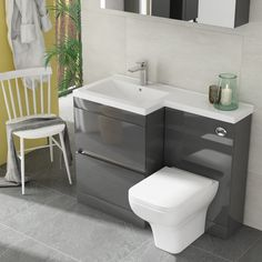 Treat yourself to this luxury bathroom suite, perfect for a small bathroom. Handless design, and with a back to wall toilet and basin. Toilet And Basin Unit, Toilet Vanity Unit, Grey Vanity Unit, Sink Vanity Unit, Toilet Sink, Bathroom Vanity Units, Small Bathroom Vanities, Bathroom Design Small, Modern Bathroom
