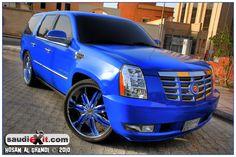 blue Cadillac Escalade
