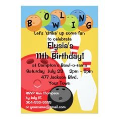 Bowling Birthday Party Invitations Customizable Bowling Birthday Party Card