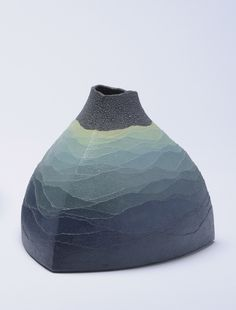 Miyashita Zenji; a vessel with his trademark colored clay overlays that to me always suggest misty Japanese landscape prints