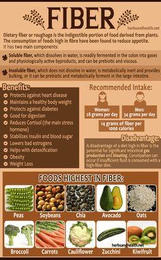 Fiber Diet, Fiber Rich Foods, High Fiber Foods, Fiber Health, High Fiber Recipes, Nutrition Tips, Health And Nutrition, Health And Wellness, Health Foods
