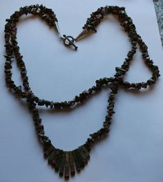 Sterling Silver Green and Pink Granite Double Strand by onetime, $7.25