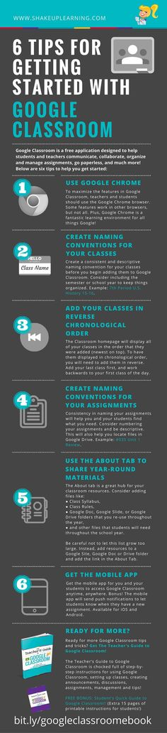 6 Tips for Getting Started with Google Classroom [infographic} | Ready to Get Started with Google Classroom? Google Classroom is a free application designed by Google to help students and teachers communicate, collaborate, organize and manage assignments, go paperless, and much more! This is the ONLY application that Google has developed specifically for students and teachers, and they want it to be your go-to assignment manager.