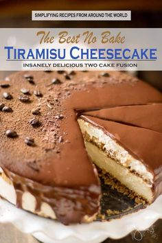 Best ever no bake tiramisu and cheesecake fusion with chocolate ganache Need an amazing dessert to round off your dinner? This insanely delicious no bake tiramisu cheesecake will knock your socks off! Tiramisu Cheesecake, Cheesecake Recipes, No Bake Tiramisu Recipe, Tiramisu Brownies, No Bake Nutella Cheesecake, Homemade Cheesecake, Classic Cheesecake, Raspberry Cheesecake, Pumpkin Cheesecake