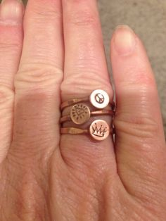 brass and copper soldered, stamped rings