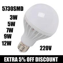 Оптовая 5730 SMD led Лампа 220 В B22 СВЕТОДИОДНАЯ лампа E27 3 Вт 5 Вт 7 Вт 9 Вт 12 Вт Люстра Светодиодов свечах Spotlight Лампада Bombillas