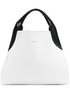 Lanvin Medium Cabas Two Tone Leather Bag In White Tote Bags, My Bags, Tote Handbags, Purses And Handbags, White Tote Bag, White Handbag, Structured Handbags, Lanvin, Designer Leather Handbags