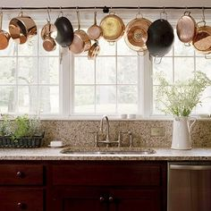 Hang pots and pans so they are always organized and easy to reach