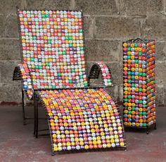 Swane Design Lounge zetel kroonkurk met voetbank