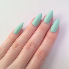 Matte pastel green stiletto nails, Nail designs, Nail art, Nails, Stiletto nails, Acrylic nails, Pointy nails, Fake nails, False nails