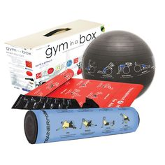 Gym In A Box Six-Piece Full-Body Workout Kit with instructional illustrations on the equipment. Smart!