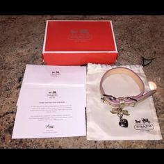 Brand new Coach Dog Collar Pink and Gold Size SM Brand new in box! Pink and Gold Leather Coach Dog Collar with silver Coach charm in size small. Model number 61523. Free shipping priority shipping within the U.S. Coach Other