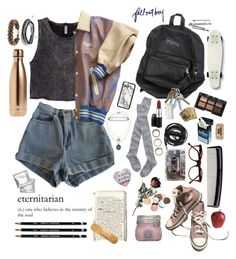 """""""eternitarian// Grunge outfits"""" by uneadorablee ❤ liked on Polyvore featuring American Apparel, Converse, Cutler and Gross, Madewell, MAC Cosmetics, Urbanears, Denman, Quiksilver, BOBBY and Forever 21"""