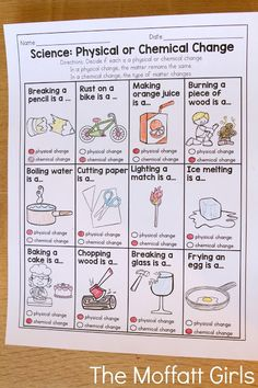 Physical or Chemical Change- This is a great practice sheet that could be paired with plenty of science experiments! Physical or Chemical Change- This is a great practice sheet that could be paired with plenty of science experiments! 8th Grade Science, Middle School Science, Elementary Science, Science Classroom, Science Education, Classroom Ideas, Elementary Teaching, Classroom Activities, 5th Grade Science Experiments