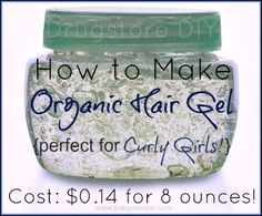 DIY homemade organic hair gel recipe. 2 ingredients from the ktichen and it only takes 15 minutes!