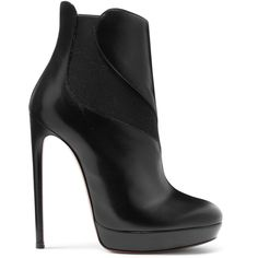 Alaïa Leather boots ($1,390) ❤ liked on Polyvore featuring shoes, boots, black, slip on boots, high heel platform boots, black leather boots, black slip on boots and black platform shoes