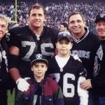 """""""Steve Wisniewski, Oakland Raiders""""   This is a """"did you really think"""" moment. The guy next to him is his Steve's older brother, Leo, (right), who also played in the NFL. The boy wearing the #76 is Leo's son, Stefan, who was drafted by the Raiders in 2011."""