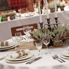 Burlap wedding plant wraps, a unique way to make a table centrepiece, effective and original