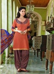Salmon Color Unstitched Patiala Suit With Gota Patti Work