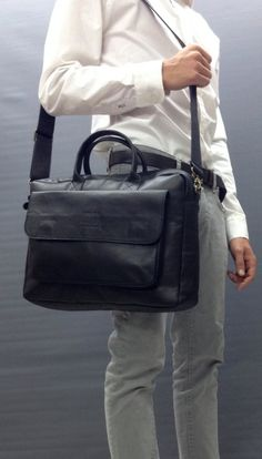 111dfac357cd Black Leather Messenger Bag laptop bag leather briefcase leather satchel  computer bag