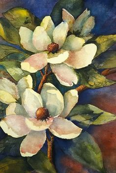 Charlotte Peterson watercolor--this would make a lovely quilt! Watercolor Flowers, Watercolor Paintings, Watercolor Portraits, Watercolor Landscape, Abstract Paintings, Watercolours, Pintura Magnolia, Art Floral, Flowers Illustration