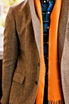 http://lookastic.com/men/looks/navy-dress-shirt-and-orange-scarf-and-brown-blazer/995