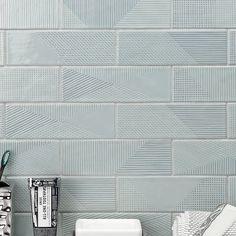 Ivy Hill Tile Ace x Ceramic Subway Tile Color: Ash Blue Beveled Subway Tile, Ceramic Subway Tile, Subway Tile Colors, Color Tile, Subway Tile Patterns, Stone Mosaic Tile, Mosaic Glass, Best Floor Tiles, Tiles Online