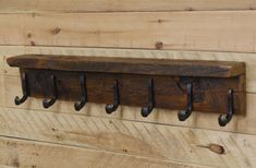 42 Reclaimed Wood Coat Rack with 7 Railroad by NorthshoreReclaimed