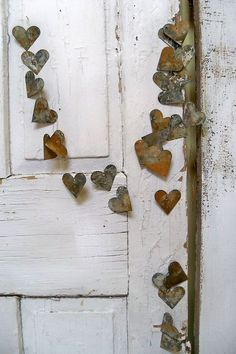 Rusty heart garland industrial metal French chic vignette decoration home decor Anita Spero.