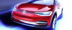 Volkswagen unveils a new version of the ID Crozz Concept at the IAA in Frankfurt next week. The car presented. Volkswagen Polo, Volkswagen Group, Vw T, Frankfurt, Car Design Sketch, Car Sketch, 3d Design, Shanghai, Vw Logo