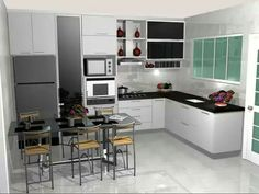 Interior design ideas for an extravagance kitchen decoration. On this kitchen, you can see excellent furniture design pieces. Take a look at the methods and let you inspiring! See more clicking on the image. Entertainment Center, Decoration, My House, Kitchen Cabinets, Room, Home Decor, Kitchen Decor, Aesthetic Green, Blender Tutorial
