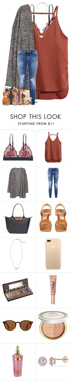 """""""i got fake people showing fake love to me"""" by theblonde07 ❤ liked on Polyvore featuring LoveStories, H&M, 7 For All Mankind, Longchamp, Gianvito Rossi, Kendra Scott, Urban Decay, Too Faced Cosmetics, Ray-Ban and Victoria's Secret"""