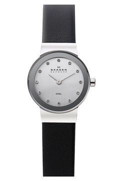Free shipping and returns on Skagen 'Freja' Leather Strap Watch, 22mm at Nordstrom.com. Slim leather watch is elegantly styled with a brushed chrome dial and crystallized indexes on a petite round case.