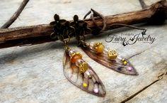 Orecchini Ali di libellula bronzo perno agate, by Evangela Fairy Jewelry, 11,00 € su misshobby.com