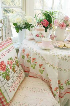 So lovely....  china, tea, vintage linens, pink.... Perfect!