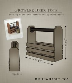Growler Beer Tote - Building Plans by www.build-Build a Growler Beer Tote - Building Plans by www. Beer Caddy, Wine Caddy, Wooden Projects, Wooden Crafts, Beer Growler, Beer Opener, Wine Bottle Holders, Drink Holder, Wood Creations