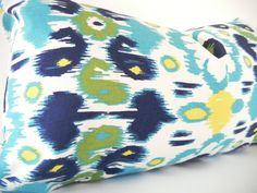 Blue Green Ikat Pillows, Long Bolster Pillow, Navy Blue and Light Blue, 12x22 Inch, Black Friday Etsy, Cyber Monday Etsy$49