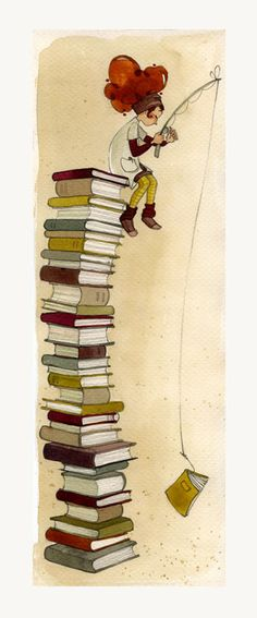 Cute illustration f girl on top of books. WI wonder who the artist is. I Love Books, Books To Read, My Books, Foto Gif, Reading Art, World Of Books, Book Nooks, Library Books, Book Illustration
