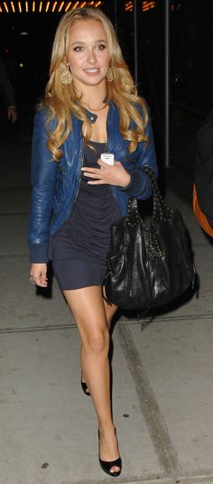 Hayden Panettiere...LOVE this jacket with the dress!