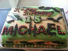 Air soft gun cake my boy would love this Paintball Cake, Paintball Birthday Party, Nerf Gun Cake, Birthday Parties, Birthday Cakes, Laser Tag Birthday, Laser Tag Party, Gun Cakes, Carousel Cake