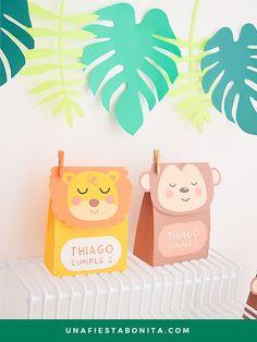 Plantillas para imprimir cajitas, ideal para fiestas de cumpleaños, baby shower, primer añito, abutizo... #cajitasdepapel #cajitasparadulces #fiestaselva#fiestasafari#ideasfiesta#cumpleaños#imprimibles #animalitosdelaselva #jungleparty #junglebox #cajitaanimalitos #plantillacajita #cajitaleon #cajitamono