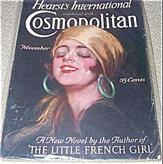 $73 Art Deco Gypsy Lady with turban and big hoop earrings COMPLETE ISSUE OF COSMOPOLITAN MAGAZINE FOR 11/1926. Cosmo COVER BY HARRISON FISHER.