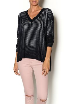 """Long sleeve V-neck """"perforated"""" knit sweater. This summer-weight sweater would look awesome over a bikini top and denim cutoffs.   Perforated Sweater by W I L L I A M  B. Clothing - Sweaters Los Angeles, California"""