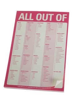 All Out Of Notepad by Knock Knock - Pink, Best Seller, Best Seller, Good, Under $20, 4th of July Sale